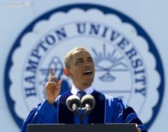 Président Obama à l'université d'Hampton DR
